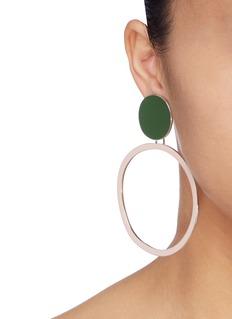 OOAK Colourblock hoop drop clip earrings