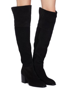 aeyde 'Kit' stretch suede thigh high boots