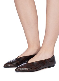 aeyde 'Moa' choked up snake embossed leather flats