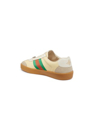 Detail View - Click To Enlarge - GUCCI - Web stripe suede panel leather sneakers