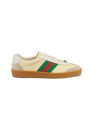 Main View - Click To Enlarge - GUCCI - Web stripe suede panel leather sneakers