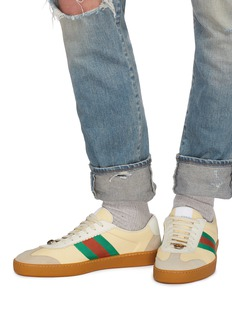 Gucci Web stripe suede panel leather sneakers