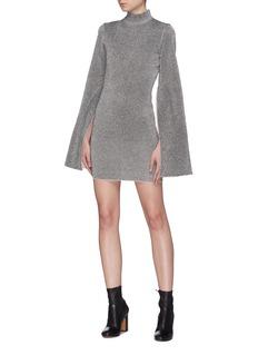 Solace London 'Alula' wide sleeve lurex mock neck mini dress