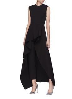 Solace London 'Soraya' asymmetric ruffle drape jumpsuit
