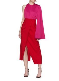 Solace London 'Marceo' colourblock one sleeve midi dress