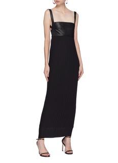 Solace London 'Elara' leather panel pleated midi dress