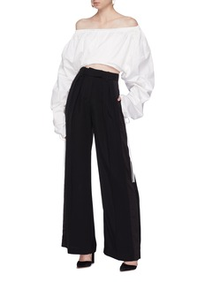 Solace London 'Jun' ruched puffed sleeve off-shoulder top