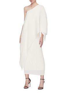 Solace London 'Sanna' asymmetric drape one-shoulder midi dress
