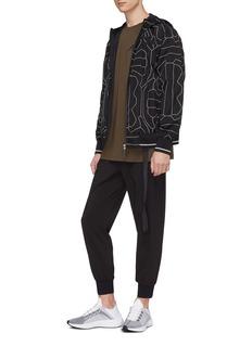 BLACKBARRETT Geometric print windbreaker zip hoodie