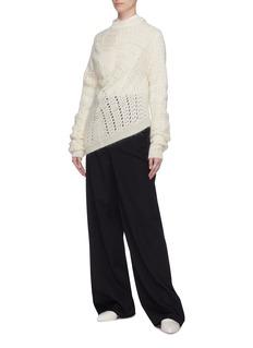 Jil Sander Asymmetric mohair-silk open knit sweater