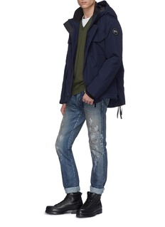 Canada Goose 'McLeod' nylon shoulder panel Merino wool V-neck sweater