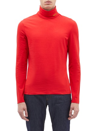 Main View - Click To Enlarge - CALVIN KLEIN 205W39NYC - Logo embroidered turtleneck long sleeve T-shirt