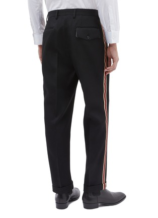 Back View - Click To Enlarge - Calvin Klein 205W39NYC - Stripe outseam roll cuff wool twill pants