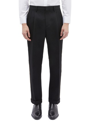 Main View - Click To Enlarge - Calvin Klein 205W39NYC - Stripe outseam roll cuff wool twill pants