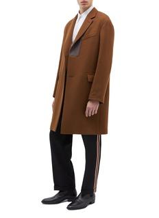 CALVIN KLEIN 205W39NYC Stripe outseam roll cuff wool twill pants