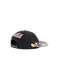 Vetements 'America' slogan print distressed patchwork baseball cap