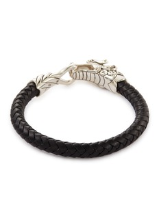 John Hardy 'Legends Naga' silver braided leather bracelet