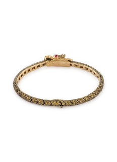John Hardy 'Cinta' diamond sapphire spinel 8k yellow gold bangle