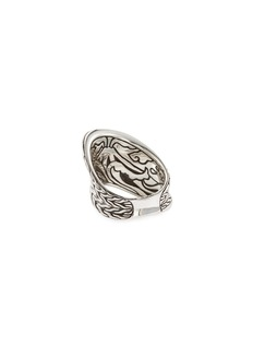 John Hardy 'Classic Chain' weave effect silver wave saddle ring
