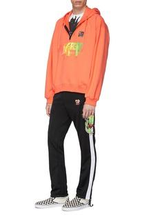 doublet 'Gradation' slogan embroidered half-zip hoodie