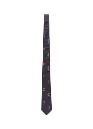 Figure View - Click To Enlarge - PAUL SMITH - 'People' graphic embroidered silk tie
