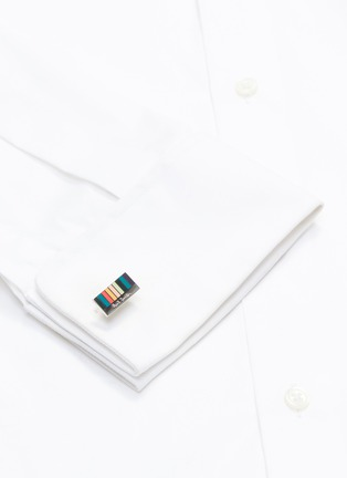 Figure View - Click To Enlarge - PAUL SMITH - Enamel stripe cufflinks