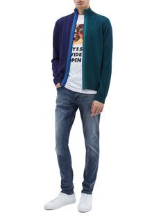 PS Paul Smith Stripe placket colourblock Merino wool zip turtleneck cardigan