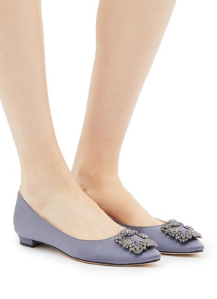 Figure View - Click To Enlarge - MANOLO BLAHNIK - 'Hangisi' Swarovski crystal brooch satin flats