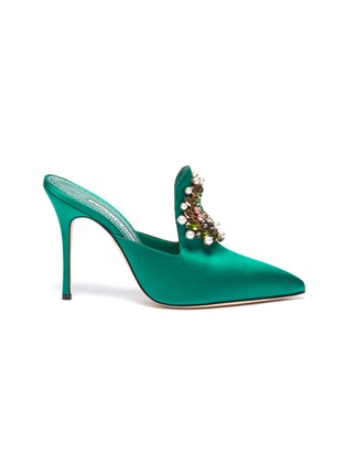 Main View - Click To Enlarge - MANOLO BLAHNIK - 'Tilda 105' embellished brooch satin mules