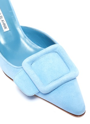 Detail View - Click To Enlarge - MANOLO BLAHNIK - 'Maysale 50' square brooch suede mules