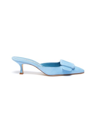 Main View - Click To Enlarge - MANOLO BLAHNIK - 'Maysale 50' square brooch suede mules