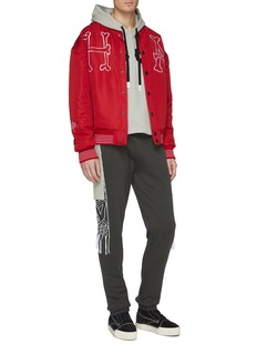 Haculla 'H A' slogan graphic embroidered varsity jacket
