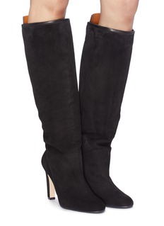Stuart Weitzman 'The Charlie' leather tab suede knee high boots