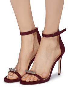 Stuart Weitzman 'Cylinder' embellished band suede sandals