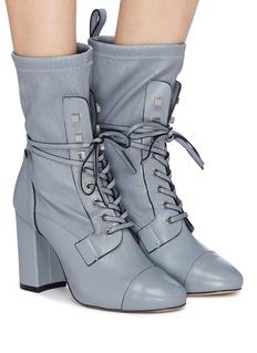 Stuart Weitzman 'Veruka' lace-up panelled leather mid-calf boots
