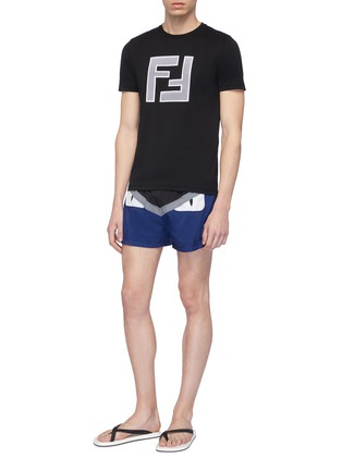Figure View - Click To Enlarge - Fendi Sport - 'Bag Bugs' panel swim shorts