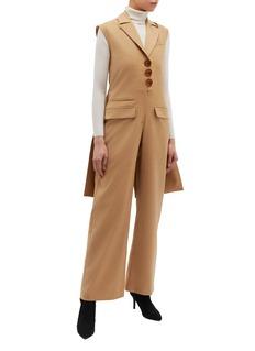 MATÉRIEL Coat back panel button front wool jumpsuit