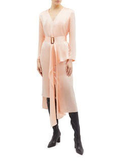 MATÉRIEL Belted asymmetric drape silk V-neck dress