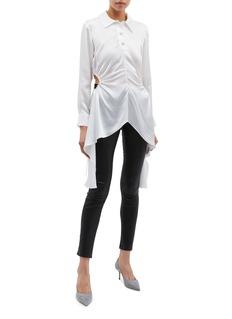 MATÉRIEL Ruched cutout waist drape silk blouse