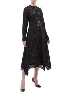 MATÉRIEL Belted button leopard lace dress