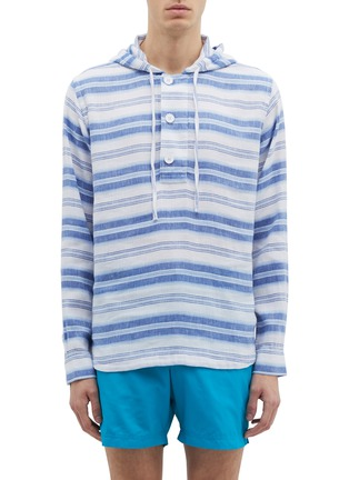 Main View - Click To Enlarge - Orlebar Brown - 'Penley' stripe linen-cotton hoodie
