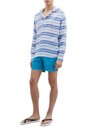 Figure View - Click To Enlarge - ORLEBAR BROWN - 'Penley' stripe linen-cotton hoodie