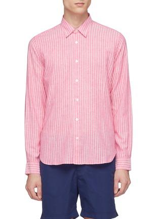 Main View - Click To Enlarge - Orlebar Brown - 'Morton' stripe cotton-linen shirt