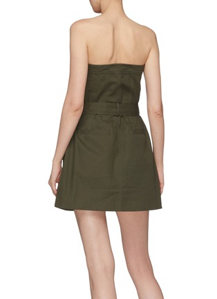 Back View - Click To Enlarge - JINNNN - Belted zip front strapless bustier dress