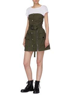 Jinnnn Belted zip front strapless bustier dress