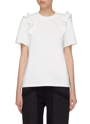 Main View - Click To Enlarge - Jinnnn - Ruffle shoulder T-shirt