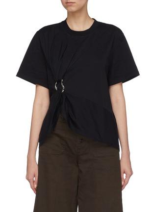 Main View - Click To Enlarge - Jinnnn - Asymmetric gathered hoop T-shirt