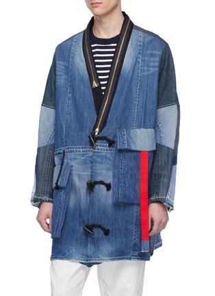 Detail View - Click To Enlarge - YVES DELORME - Zip lapel patchwork unisex denim kimono coat