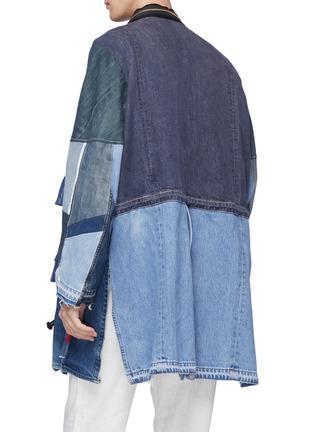 - YVES DELORME - Zip lapel patchwork unisex denim kimono coat
