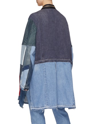 Back View - Click To Enlarge - YVES DELORME - Zip lapel patchwork unisex denim kimono coat